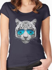 Tiger with sunglasses Women's Fitted Scoop T-Shirt