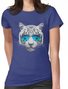 Tiger with sunglasses Womens Fitted T-Shirt