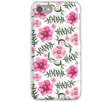 Watercolor Light Green Leaves and Pink Flowers iPhone Case/Skin