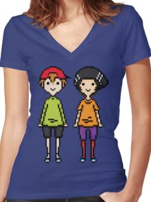 KevEdd Pixel Sprites Women's Fitted V-Neck T-Shirt