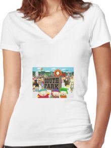 South Park Characters Women's Fitted V-Neck T-Shirt