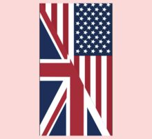 American and Union Jack Flag One Piece - Long Sleeve