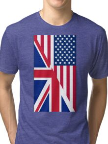 American and Union Jack Flag Tri-blend T-Shirt