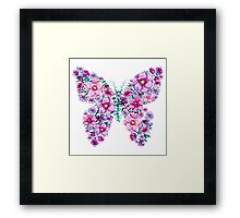 Watercolor Floral Butterflies with Pink and Purple Flowers Framed Print