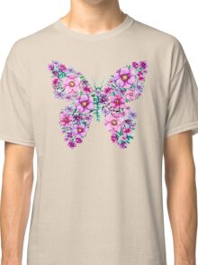 Watercolor Floral Butterflies with Pink and Purple Flowers Classic T-Shirt
