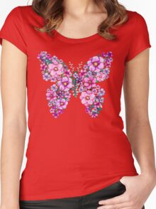Watercolor Floral Butterflies with Pink and Purple Flowers Women's Fitted Scoop T-Shirt