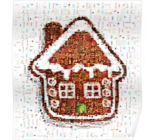 Gingerbread House Christmas Mosaic Poster
