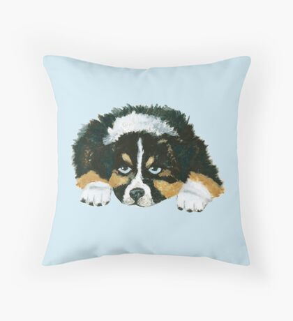 Black Tri Australian Shepherd Puppy  Throw Pillow