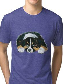 Black Tri Australian Shepherd Puppy  Tri-blend T-Shirt