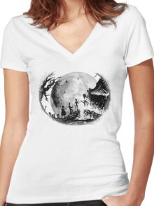 Think Deathly Hallows Moon Women's Fitted V-Neck T-Shirt