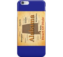 Aged Alabama State Pride Map Silhouette  iPhone Case/Skin