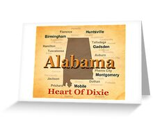 Aged Alabama State Pride Map Silhouette  Greeting Card