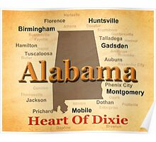 Aged Alabama State Pride Map Silhouette  Poster