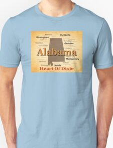 Aged Alabama State Pride Map Silhouette  T-Shirt