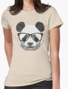 Panda with glasses Womens Fitted T-Shirt