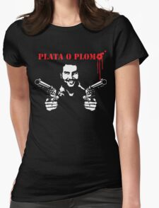 Pablo Escobar  With Two Guns  Womens Fitted T-Shirt