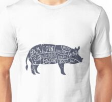 Hand Drawn Pork Illustration with cut scheme Unisex T-Shirt