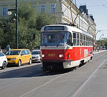 Trams in Prague by Keith Larby