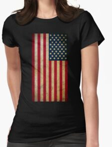 Vintage Grunge American Flag Womens Fitted T-Shirt