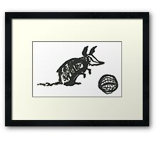 Armadillo Playing Ball Doodle Framed Print