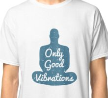 Meditation Human silhouette isolated on white background Classic T-Shirt