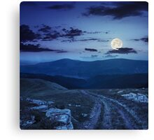 road among stones on the hillside at night Canvas Print