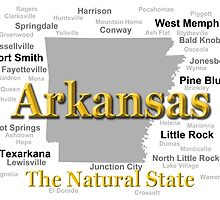 Arkansas State Pride Map Silhouette  by KWJphotoart