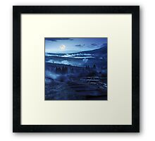 steps down to village in foggy mountains at night Framed Print