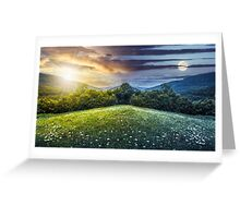 composite landscape with forest  in mountains Greeting Card