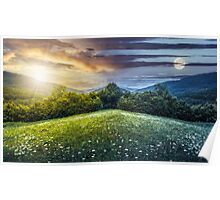 composite landscape with forest  in mountains Poster