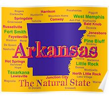 Colorful Arkansas State Pride Map Silhouette  Poster
