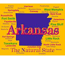 Colorful Arkansas State Pride Map Silhouette  Photographic Print