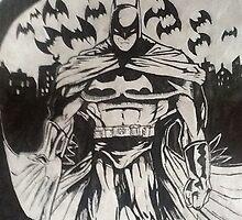 Batman ink drawing  by Rebecca Hannant