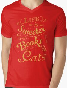 life is sweeter with books & cats #2 Mens V-Neck T-Shirt