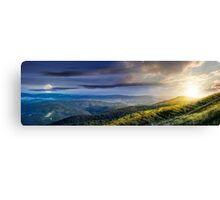 hillside panorama in Carpathian mountains Canvas Print