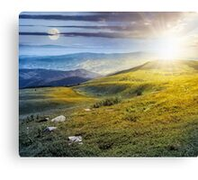 stones on the hill of mountain range Canvas Print