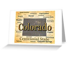 Aged Colorado State Pride Map Silhouette  Greeting Card
