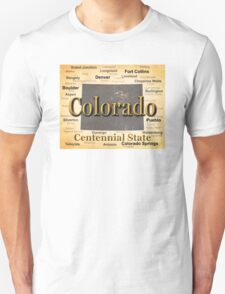 Aged Colorado State Pride Map Silhouette  T-Shirt