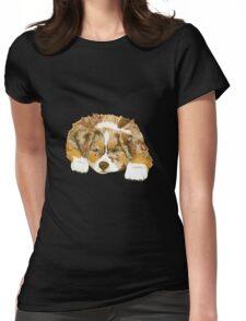 Red Merle Australian Shepherd Puppy Womens Fitted T-Shirt