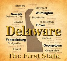 Aged Delaware State Pride Map Silhouette  by KWJphotoart