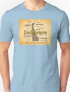Aged Delaware State Pride Map Silhouette  T-Shirt