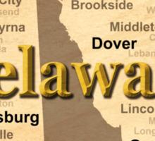 Aged Delaware State Pride Map Silhouette  Sticker
