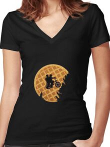 stranger things waffle moon Women's Fitted V-Neck T-Shirt