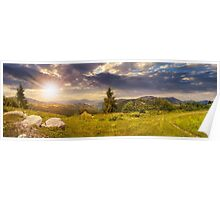 boulders on hillside meadow in mountain at sunset Poster