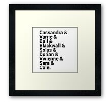 Dragon Age Inquisition Character Names Framed Print
