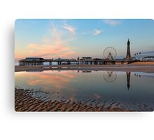 Autumn sunset over Central Pier Blackpool North West of England Canvas Print