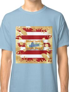 Gold,floral,flowers,cut out art,red,white, stripes,pattern.You are special.typography,cool text,modern,trendy Classic T-Shirt