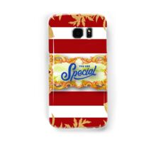 Gold,floral,flowers,cut out art,red,white, stripes,pattern.You are special.typography,cool text,modern,trendy Samsung Galaxy Case/Skin