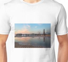 Autumn sunset over Central Pier Blackpool North West of England Unisex T-Shirt