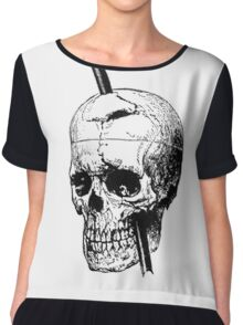 The Skull of Phineas Gage Vintage Illustration Vector Chiffon Top
